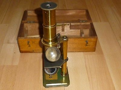 An Antique Brass Microscope with Box c1880/1900