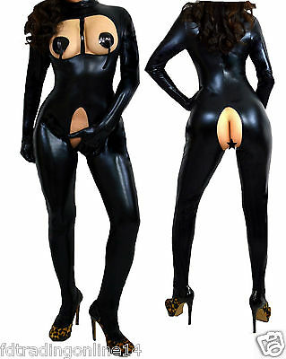 Domina Wetlook Ouvert Catsuit Lack Latex Fetisch Bdsm 34 36 38 40 42 44 46 48