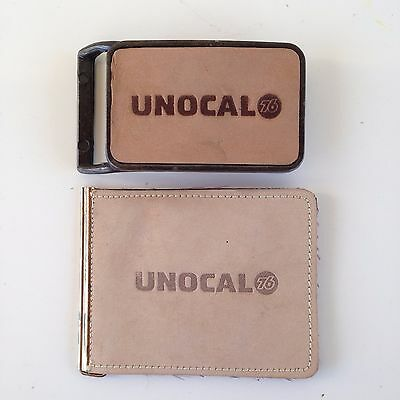 UNOCAL 76 Belt Buckle & Paper Money Wallet Set Leather Gas & Oil Advertising