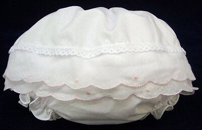 NWT Will'Beth White Pink Scallop Diaper Cover Bloomers Small Newborn 0 3 M Girls