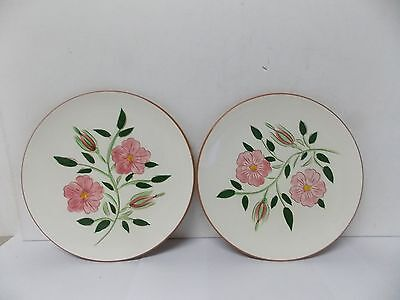 "Stangl Art Pottery Wild Rose 8 1/4 "" Lunch/ Salad Plates, Set of 2"