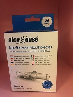 25 x AlcoSense Mouthpieces for Pro & Ultra - Mouth pieces Blow Tubes. New In Box