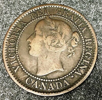 Fine 1859 Canada Large One Cent Narrow Wide 9? Haxby SEE PICS 1c Canadian coin 8