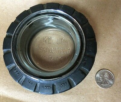 Vintage Kelly Springfield Tired Tire Ashtray Embossed Glass Tom Cat Advertising