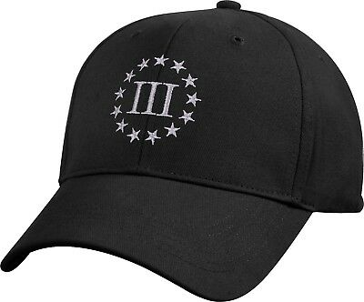 Black 3 Percenter Embroidered Military Low Profile III Baseball Cap Hat
