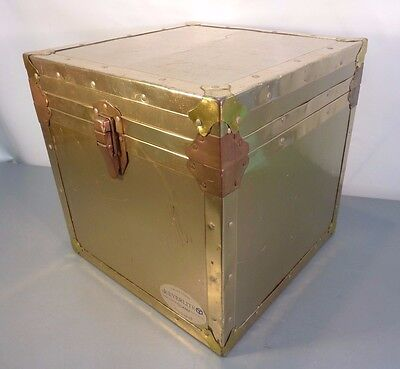 Vtg EVERLITE UNION Brass Look TRUNK Chest Footlocker Hollywood Regency Style Box