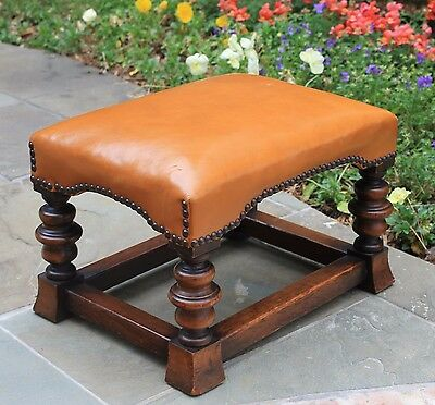 Antique English Oak Leather Nailhead Upholstered Bench Foot Stool Turned Legs