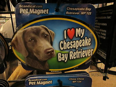 I Love My Chesapeake Bay Retriever 6 inch oval magnet for  anything metal  New