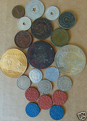 21 Misc Tokens - Dakota Centennial, Utah Tax, WW2 Food Ration, Pontiac Chief etc