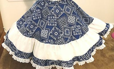 Skirt  Square Dance Royal Blue And White Cowboy Scarf Cloth  Large New