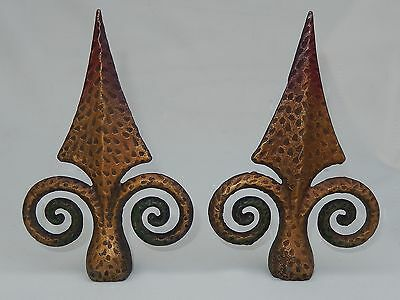 2 Vintage/Antique Painted Cast Iron Fence/Gate Spear Tip Finials