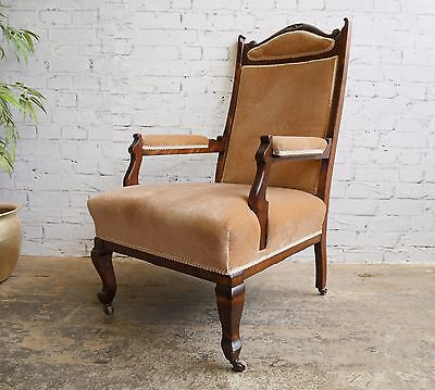 Antique Edwardian Upholstered Parlour Style Gentlemans Armchair Chair ~ VGC