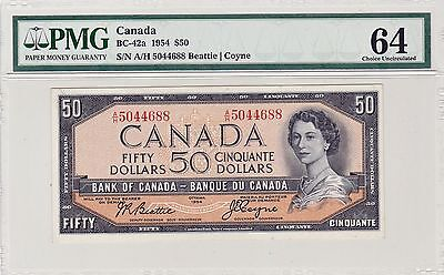 Bank of Canada 1954 $50 Modified PMG-MS-64 BC-42a