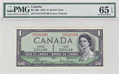 Bank of Canada 1954 $1 Devil's Face BC-29a PMG MS65