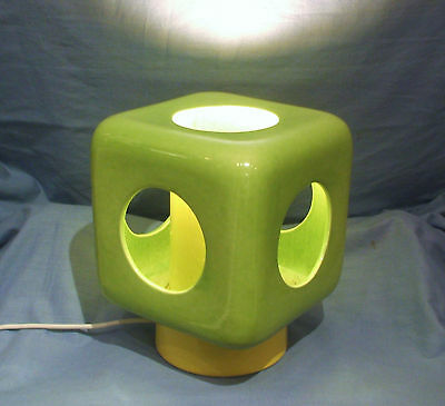 Vintage 1960s / 70s Modernist Bright Green & Yellow Ceramic Lamp