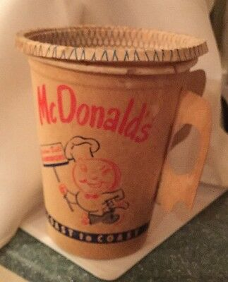 McDonalds Late 50's/early 60's Waxed Paper Coffee Cup With Handles And Lid