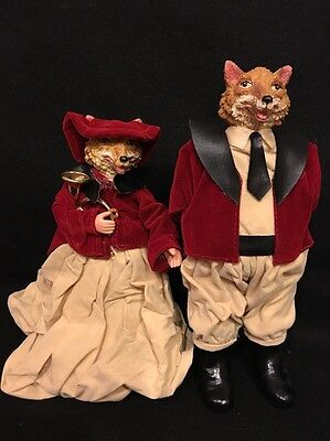 Mr & Mrs Red Fox Victorian Lady Gentleman Doll Figurines Dressed In Red Velvet