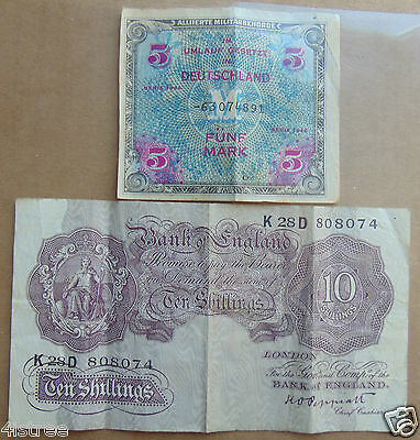 1940's GB England 10 Shillings Bill Currency and 1944 Germany 5 Mark Bank Note