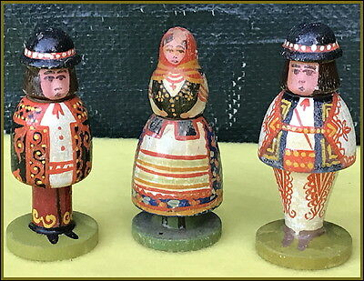 LOT of 3~ ANTIQUE FIGURAL FOLK ART ~TRADITIONAL ATTIRE~ POLISH NEEDLE CASES