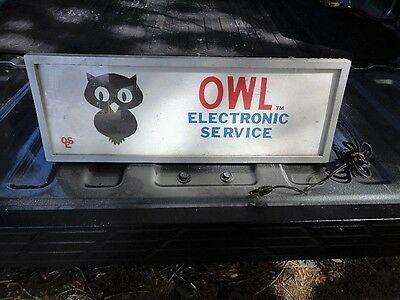 Vintage Owl Electronic Service Plastic Lighted Advertising Store Sign