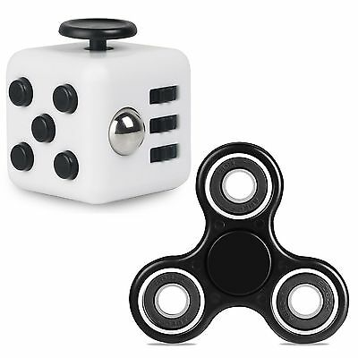 Magic Fidget Cube+Hand Spinner Anxiety Stress Relief Focus Desk Toy Gift Adults