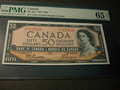 Bank of Canada 1954 $50 Modified PMG-MS-65  BC-42a