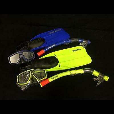 4 Piece Body Glove Clark Rubber Sea Coral Reef Explorer Snorkel Mask & Fins Set