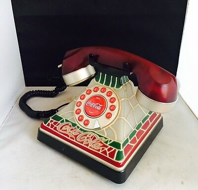 COCA-COLA Stained Glass Look Lighted Telephone Phone Lights Up - Collectible NEW