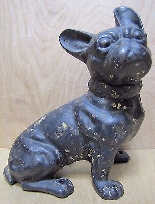 Antique Cast Iron French Bulldog Doorstop Decorative Art Whimsical Dog Statue