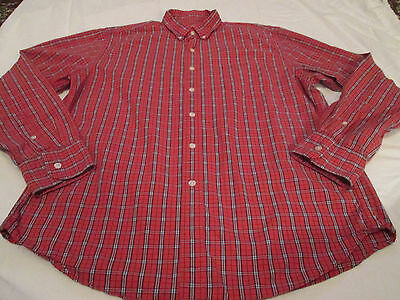 J.Crew Long Sleeve Button Down Shirt Casual Cotton Tailored Size L Red Plaid EUC