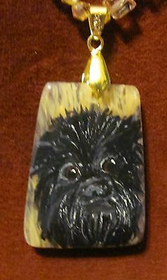 Affenpinscher hand painted ongold quartz pendant/bead/necklace