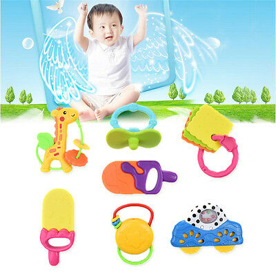 7pcs Baby Rattle & Teether Teething Bell & Gutta-percha Play Set Educational Toy