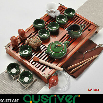 Tradition Chinese Tea Set Solid Clay Porcelain Wood Kungfu Tea Green