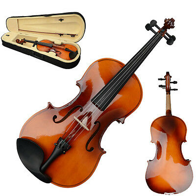 """New 16"""" Wood Adult Acoustic Viola with Case Rosin Bow Brown for Beginner"""
