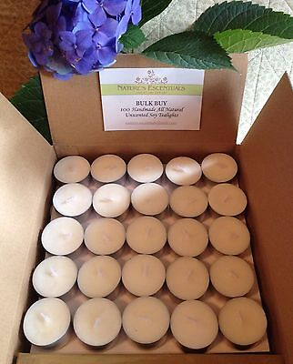 *BuY BuLk & SaVe*100 Natural Unscented SOY TEALIGHTS +5 extra FREE, alum 16x38mm