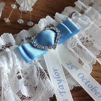 Personalised Wedding Garter, Plus Size, Ivory With Blue Bow