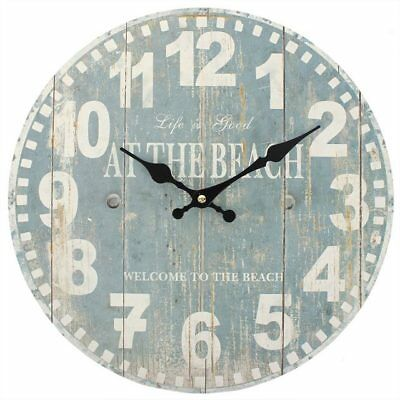 """""""Life Is Better At The Beach!"""" Blue Nautical Clock Wall Hanging 34cm Wide Anchor"""