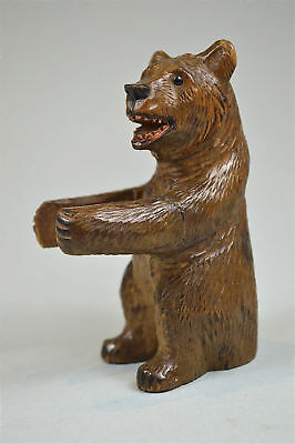 Antique hand carved wooden Black Forest bear smoking match holder stand c.1900