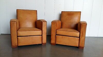 Superb Pair Of Vintage French Leather Club Arm Chairs