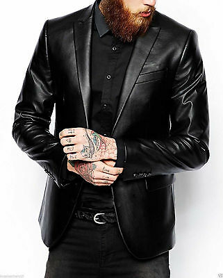 Men's Genuine Lambskin Real Leather Blazer Jacket Two Button Slim Fit Coat