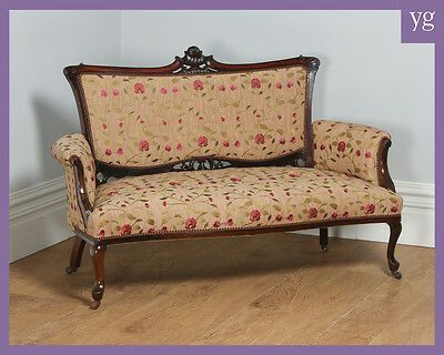 Antique English Edwardian Art Nouveau Carved Mahogany Couch (Circa 1900)