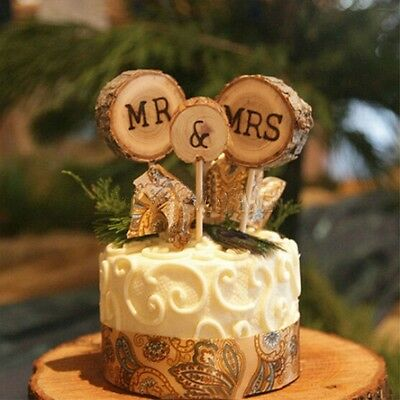 3x Wood Mr And Mrs Wedding Cake Topper Stick Decoration Rustic Anniversary Party