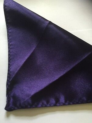 SUIT POCKET SILK HANKERCHIEF IN PURPLE (BRAND NEW) 23cm x 23cm ALL HANDMADE