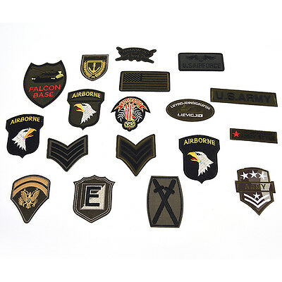 Military Motif Embroidered Patches for Clothing Sew Iron on Clothes Appliques MD