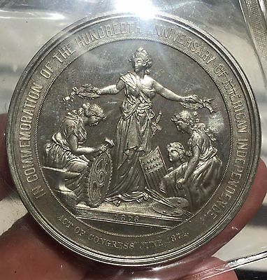 U.s. Centennial Exposition 1876 Phila - American Independence White Metal  Medal