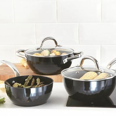 Black Diamond Chef 5Pc Induction Saucepan Casserole Pot Non Stick Frying Pan Set