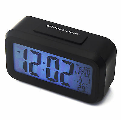 New Digital Battery Alarm Clock with LCD Display Backlight Calendar Snooze UK