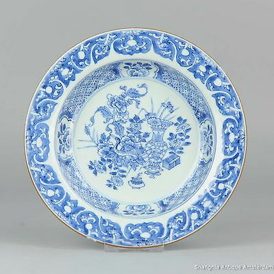 Antique Yongzheng 18c Chinese porcelain blue white plate China Qing flowers