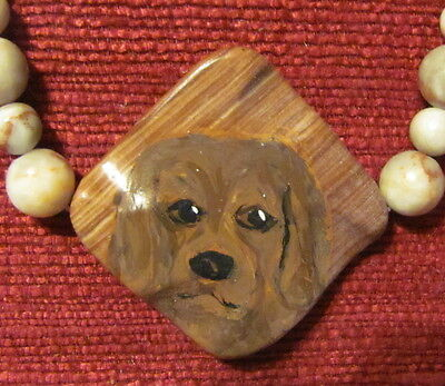Sussex Spaniel hand painted on square gemstone pendant/bead/necklace