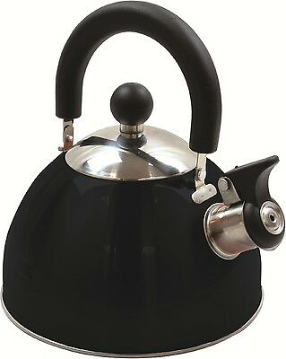 Highlander Deluxe Steel Whistling Kettle Black for Camping Caravanning beach hut